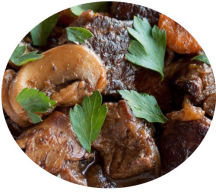 Beef Bourguignon. Tender beef steak, slow cooked in a red wine sauce with mushrooms and shallots