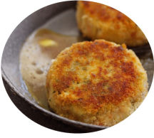 Cajun Fish Cakes served with a sweet chili-dip