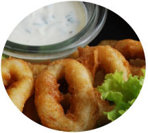 Calamari with a garlic dip