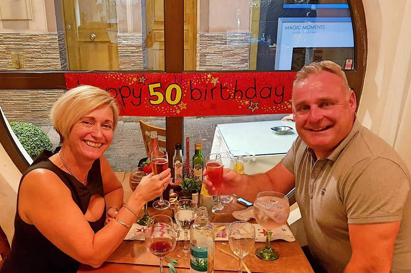 A Romantic 50th Birthday at Paneils Benidorm.