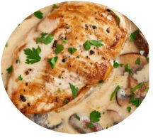 Paneils Style Chicken in a garlic, mushroom and cream sauce.