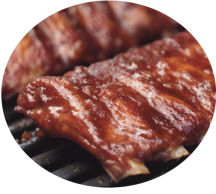 Tender slow roast spare ribs in barbecue sauce.