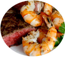 Surf N Turf: Top your steak with King Prawns.