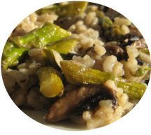 Freshly made mushroom and asparagus vegetarian risotto.